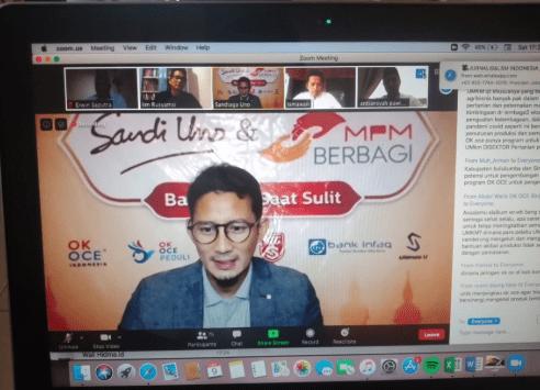 Sandiaga di Ngazoomburit MASIKA ICMI Sulsel: Budaya Gotong Royong Indonesia Jadi Pertahanan Jitu di Tengah Pandemi Covid-19